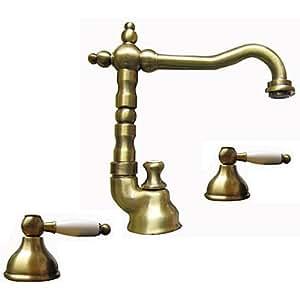 Série Dorian Robinetterie 3 trous pour lavabo couleur bronze / laiton vieilli brossé avec bonde de vidage style rétro
