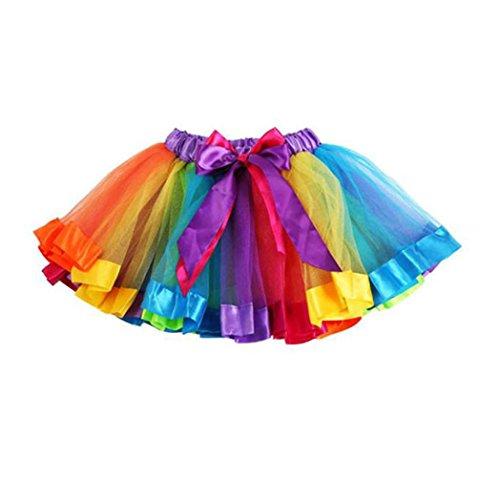 Girl Kostüm Land (Longra Mädchen Kinder Petticoat Regenbogen Pettiskirt Bowknot Rock Tutu Kleid Dancewear Mädchen Tanzkostüme Tanzkleidung (L 7-9Jahre,)