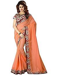 Greenvilla Designs Orange Silk Wedding Saree With Blouse