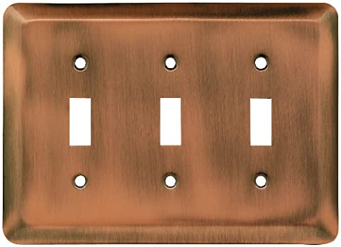 Franklin Brass 64377 Stamped Steel Round Triple Toggle Switch Wall Plate / Switch Plate / Cover, Antique