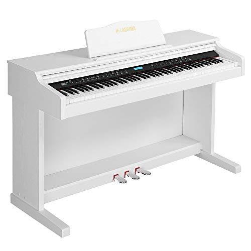 Mecor E-600 Digital Piano LCD Keyboard 88 Tasten mit 3 Pedale, Adapter & USB/MIDI Weiß