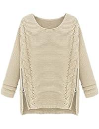 Gogofuture Maglione Donna Maglieria Pullover Taglie Forti Elegante  Sweatshirt Manica Lunga Casual Puro Colore Felpe Inverno b925fd24617