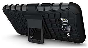 Ziaon Flip Kickstand Rugged Dual Layer Black Hybrid Case for Samsung Galaxy J5 + Screen guard