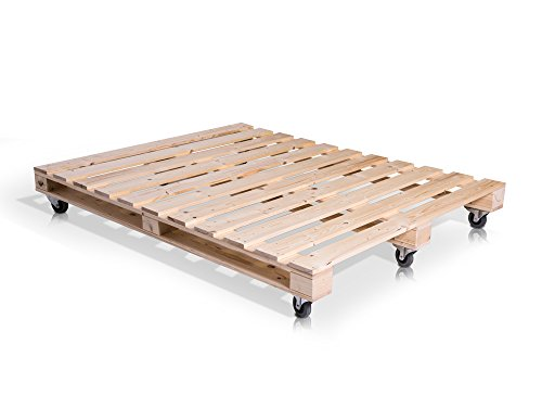 PALETTI Massivholzbett Holzbett Palettenbett Bett aus Paletten mit 11 Leisten, Palettenmöbel hergestellt in Deutschland, 160 x 200 cm, Fichte natur - 3
