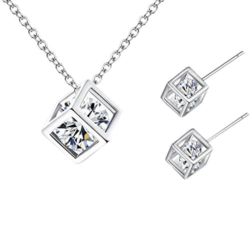 Cdet Damen Halskette Woman Necklace Diamant-Quadrat Hals Anhänger Halskette Ohrringe Set Ornamente...