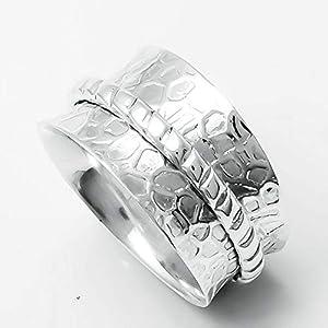 Meditationsringe, Spinnerringe, Silberringe für Frauen, Beautiful Designer Spinning Ring for Women, Hammered Spinner Band Rings, 925 Sterling Silver Band, Brass and Copper Spinner Ring for Women