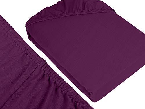 npluseins klassisches Jersey Spannbetttuch - erhältlich in 34 modernen Farben und 6 verschiedenen Größen - 100% Baumwolle, 70 x 140 cm, lila - 3