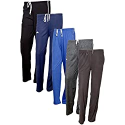 Indistar Women's Premium Cotton Lower with 1 Zipper Pocket and 1 Open Pocket(Pack of 5)_Black::Blue::Brown::Grey::Brown-42