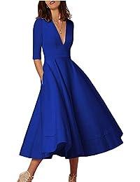 YMING mujeres elegante vestido de cóctel profundo V cuello alta cintura Vintage Swing vestido vestido de