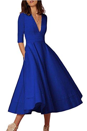YMING Damen Kleid Festliches Kleid Einfarbig Knielang Kleid Cocktailkleid Partykleid Midi Kleid,Saphir,S,DE 36 38