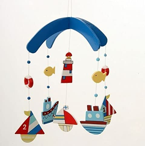 Gisela Graham Mobile blau Segelboot Schiff Fische