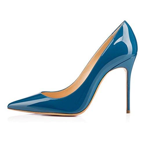 EDEFS Femmes Artisan Fashion Escarpins Classiques Pointus Des Couleurs Chaussures à talon haut de 100mm Bleu Clair Bleu