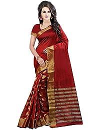 PerfectBlue Cotton Silk Saree with Blouse Piece (Pbred Goli_Red_Free Size)