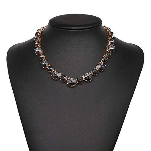 QMangel Damen Halskette,Mode Original Punkt Mosaik Glas Diamant Halsreif Elegante Damen Kostüm Ball Hundert Passenden Schmuck Halskette Grau