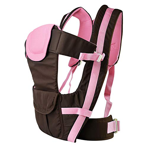 Moclever 4 en 1 portabebés, ergonómico, suave, transpirable, frontal para bebé, mochila desmontable, 4 posiciones seguras y cómodas para todas las estaciones para recién nacidos rosa rosa