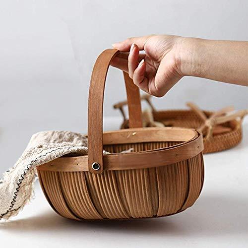 dream-cool Natürliches Holz gewebt Picknickkorb - Holzspan Weben Ablagekorb mit Griff, Home Creative Brotkorb, Obst- und Gemüsekorb, Picknick Rattan Korb (Obst Korb Aus Holz)