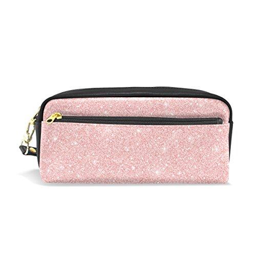 Estuche para lápices, oro rosa con purpurina impresa bolsa de viaje maquillaje gran capacidad impermeable cuero 2 compartimentos para niñas niños mujeres hombres