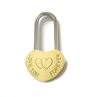Heart-shaped Locks Lovers Wishing LOVE YOU FOREVER Lock Marriage Wedding Padlock Travel Supplies Tokens of Love (Small)