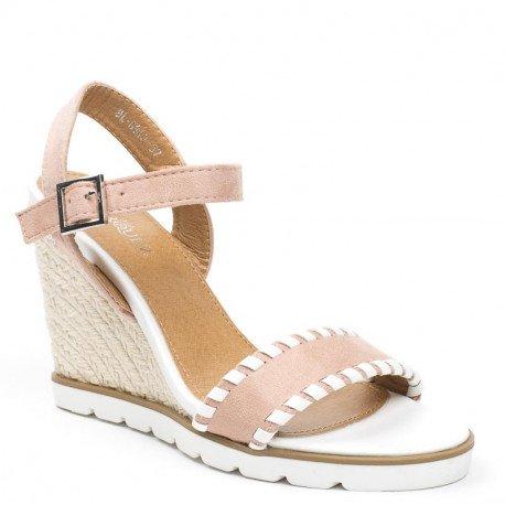 Ideal Shoes - Sandales compensées bi-matière Madeleine Rose