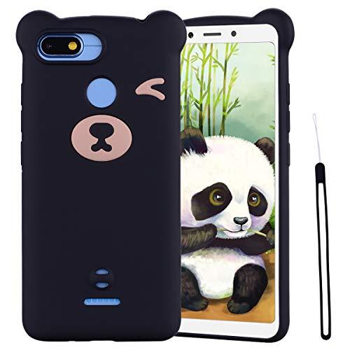 ChoosEU Compatible para Funda Xiaomi Redmi 6 / 6A Silicona Dibujos Oso Panda Creativa Carcasas para Chicas Mujer Hombres, Case Antigolpes Cover Caso Protección Cordón con Correa - Negro