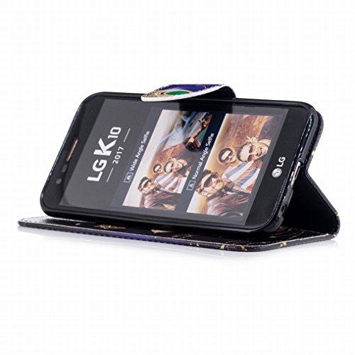 LEMORRY LG K10 (2017) Custodia Pelle Cuoio Portafoglio Flip Borsa Sottile Bumper Protettivo Magnetico Chiusura Morbido Silicone TPU Cover Custodia per LG K10 (2017) / LG X400 / LG M250N, Art Albero Design 17