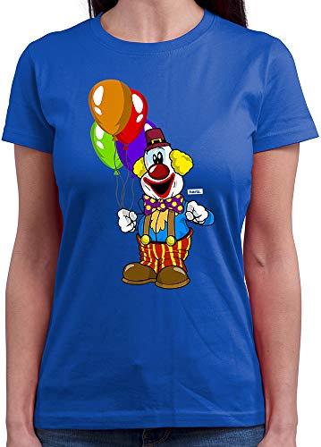 HARIZ  Damen T-Shirt Rundhals Clown Luftballons Fröhlich Karneval Kostüm Inkl. Geschenk Karte Royal Blau - Das Royal Baby Kostüm