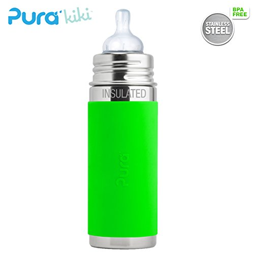 Pura Kiki ISO-Flasche - 250ml - Weithalssauger (inkl. Schutzkappe) Pura ISO 250ml Weithalssauger/Grün