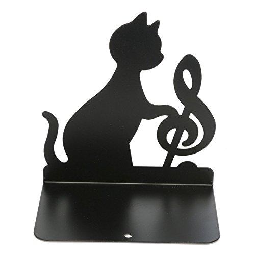 King Orten (King Do Wege Ein Paar tragbare Metall Buchstützen Halter Katze spielt Geige Musik Themen-Schwarz)