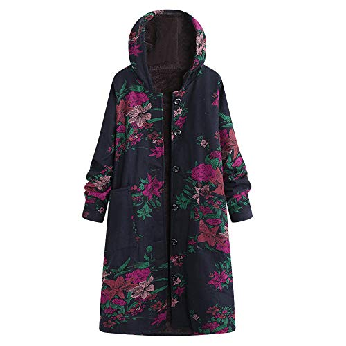 Lazzboy Women Coat Jacket Parka Vintage Warm Floral Print Flannel Lining Warm Hooded Oversized Plus Size Baggy,UK 6-20