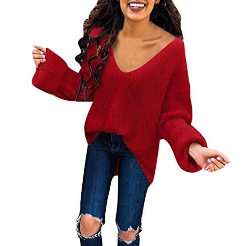 iHENGH Vorweihnachtliche Karnevalsaktion Damen Herbst Winter Bequem Lässig Mode Frauen tiefem V Ausschnitt lose beiläufige Feste Farbe gestrickter Pullover und ()
