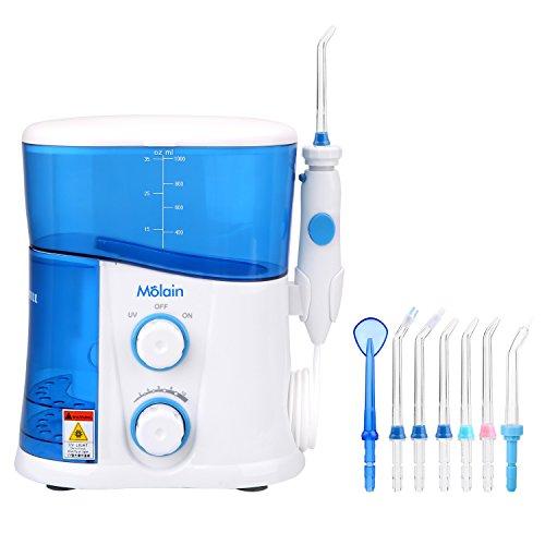 Molain Hydropulseur Jet Dentaire Professionnel Etanche Blanc et Bleu avec UV Anti-Virus Nettoyage Dentaire Pour Adultes et Enfants