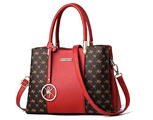 CCAQY Frauenhandtasche und Geldbeutel, Art- und Weisedame Handbag Checkered PU Leather Satchel Bag Crossbody Shoulder Bag für Damen,Coffeered (30 Pfund Reis)