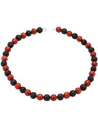 Kette Collier aus Koralle & Lava & 925 Silber schwarz rot Halskette Damen