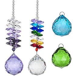EQLEF Suncatcher kristall Anhänger Kit, hängende Regenbogen-Octagon-Perlen und lila Glas Prisma Ornamente mit Farbe Kristallkugel für Fenster Garten Dekor (Packung mit 2 Stück)
