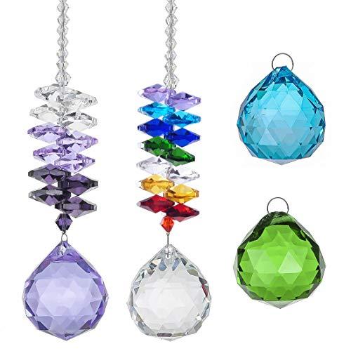 stall Anhänger Kit, hängende Regenbogen-Octagon-Perlen und lila Glas Prisma Ornamente mit Farbe Kristallkugel für Fenster Garten Dekor (Packung mit 2 Stück) ()