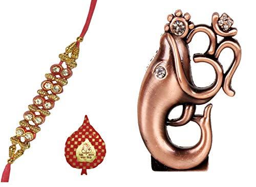 Traditionelle Rakhi f?r Brother: Ganesh Statut, Designer Rakhi & auspicous Roli chawal in rot Paan Verpackung (rakhi62b) (Kupfer)