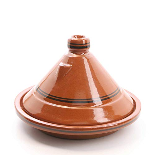 Casa Moro Marokkanische Tajine Terra Miel Ø 30 cm glasiert zum Kochen für 3 bis 4 Personen | Handmade Gartopf Tontopf aus Marrakesch