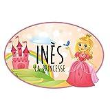 Sticker De Porte Personnalisable avec Le Prénom de Votre Enfant - Château de Princesse - Dimensions 15 x 10 cm - Adhésif