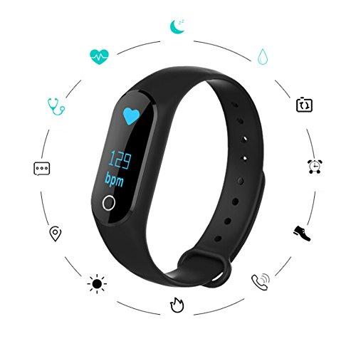 MMilelo Fitness Armband Wasserdicht Fitness Tracker Smartwatch Smart Fitness Armbänder mit Herzfrequenz Monitor/Schrittzähler/Anrufbenachrichtigungen/Ruhemodus/Kamerabedienung für Android und iOS (Schwarz)
