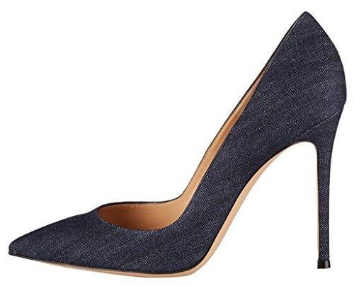 EDEFS Damen High Heels Pumps Klassische Stilettos Pumps Party Hochzeit Schuhe Denim