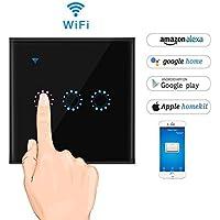 KOBWA - Interruttore intelligente, con Wi-Fi, da parete, wireless, sensore luminosità, schermo touch, timer, con App (lingua italiana non garantita), compatibile con Alexa/Google/casa domotica