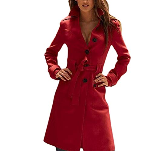 JEELINBORE Women Long Trench Coat Lapel Single Breasted Winter Overcoats Belted Slim Fit Wool Blend Coat Parka (Red, CN S) Breasted Belted Wool Coat