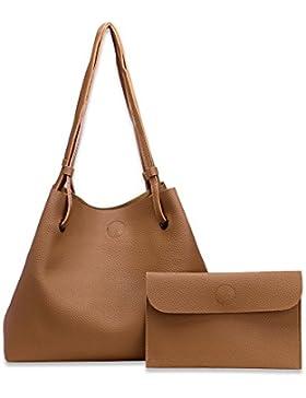 Damen PU Leather Handtaschen 2 Stücke Festgelegt, Schulter Tote Top Fashion Taschen mit passender Brieftasche...