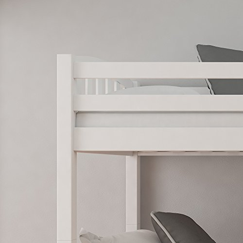 Happy Beds White Pine Bunk Bed, American Wood Traditional Twin Sleeper - 3ft Single (90 x 190 cm) with 2 x Spring Mattresses Included