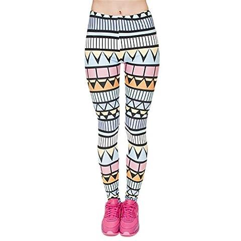 Leggings Damen für Weihnachten, Brawdress Geometrische Muster Skinny Hosen Bleistift Hosen (4#)