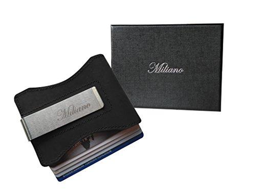 Handgemachtes Kreditkartenetui mit Geldklammer aus Echt-Leder mit Pullup Effekt - Ultra flacher minimalistischer Kartenhalter mit Geld-Clip (Schwarz) (Schwarze Designer-geld-clip)