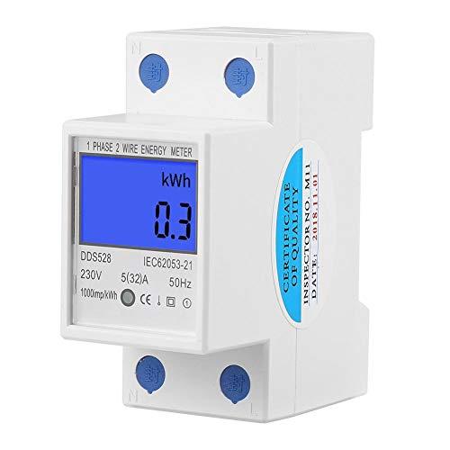 FTVOGUE Digital Energy Meter DDS528 5-32A 230V 50Hz LCD-Anzeige Einphasen KWh Meter DIN Schienenmontage - Kwh Meter