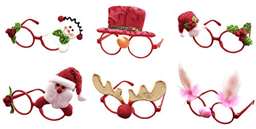 Cloud Kids 6pcs Weihnachten Brille Lustige Party Gläser Rahmen Stützen Weihnachts Schmuck Geschenke für Kinder und Erwachsene Partybrille (Mehrfarbig)