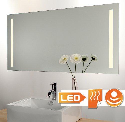 Badspiegel LED beleuchtet (Hi-Power) mit Sensor Dimmer Schalter und Heizung 140x60 cm -