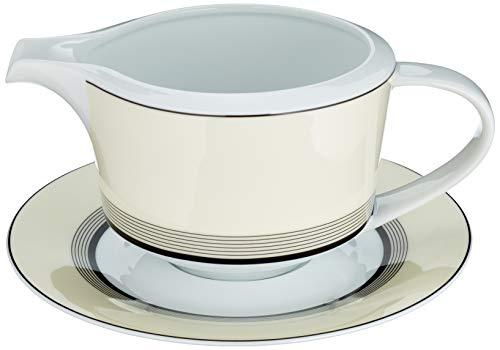 Deco Saucière et soucoupe en porcelaine tendre style art déco beige/Noir/blanc - Un Set (2 pièce)